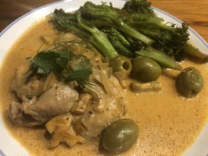 Creamy Green Olive Paprika Chicken